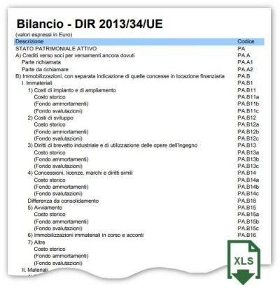 Piano dei conti UE esempio XLS