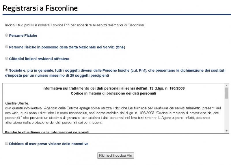 Registrarsi a Fisconline