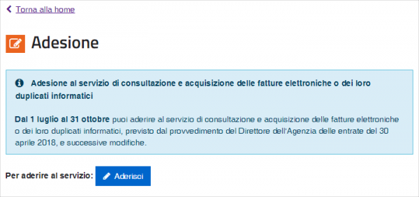 Adesione servizio consultazione fatture elettroniche