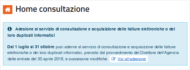 Adesione servizio consultazione fatture elettroniche link