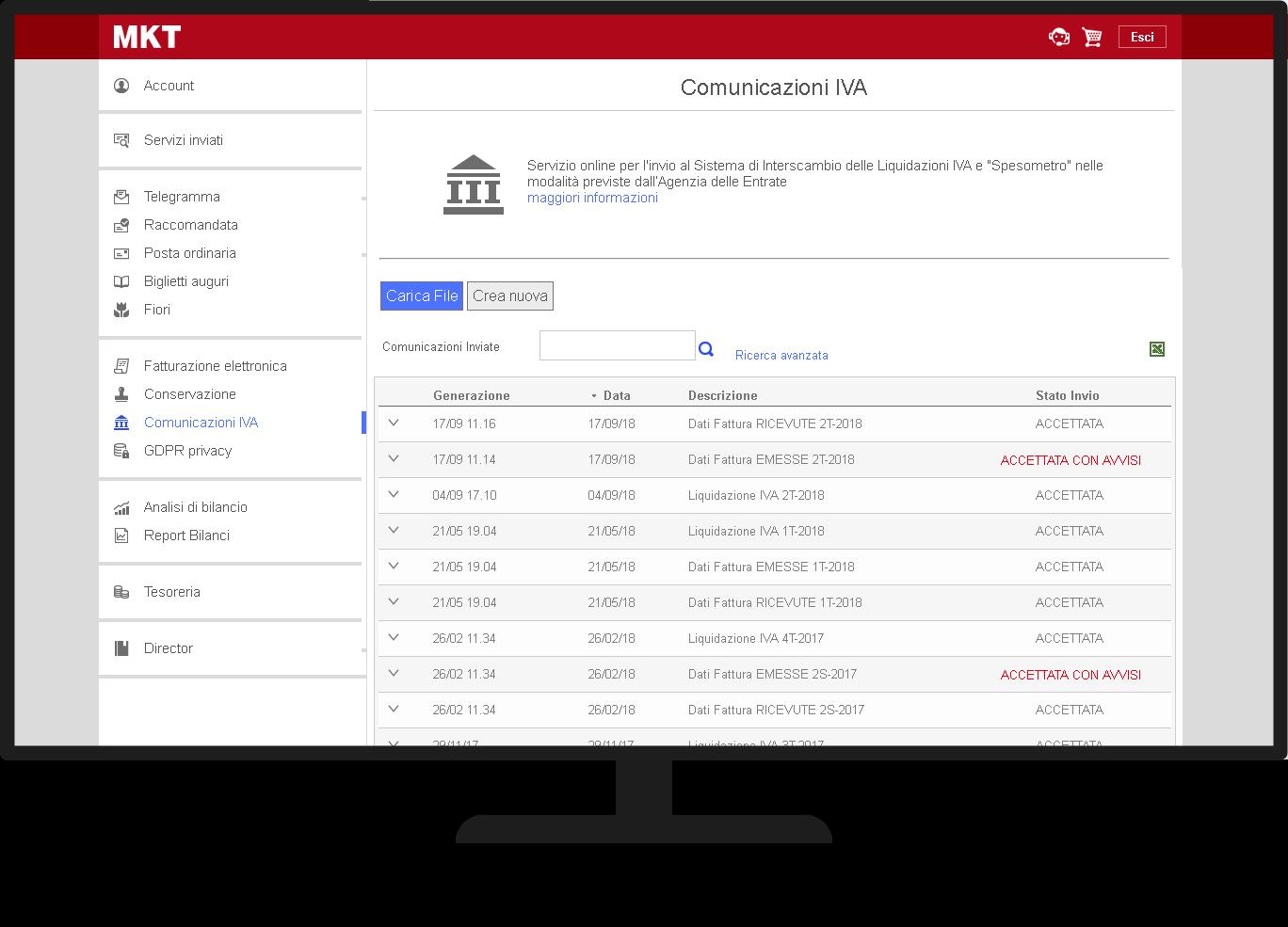 Comunicazione IVA servizio online demo